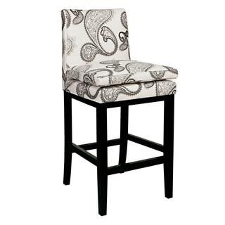 angelo:HOME Marnie Modern Black/ Cream Paisley Upholstered 29-inch Bar Stool