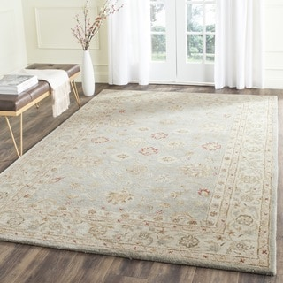 Handmade Majesty Blue-Grey/ Beige Wool Rug (12' x 15')