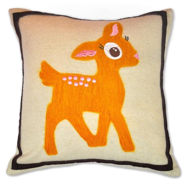 Cute Petite Deer Wool Decorative 12x12-inch Accent Pillow