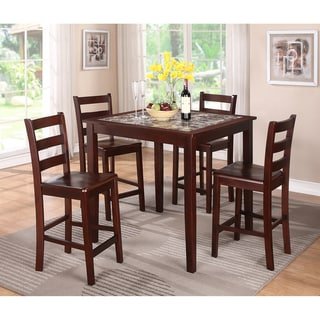 Espresso/ Imitation Marble 5-piece Dining Set