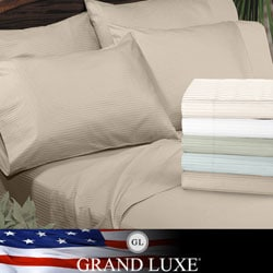 Grand Luxe Amalfi Dobby Stripe Egyptian Cotton 310 Thread Count Sateen Deep Pocket Sheet Set or Pillowcase Separates