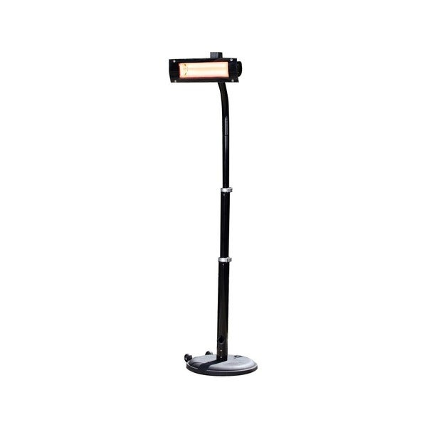 Black Steel Telescoping Offset Pole Mounted Infrared Patio Heater with Glass Front