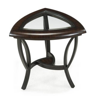 Caius Coffee Glass-topped Shaped End Table