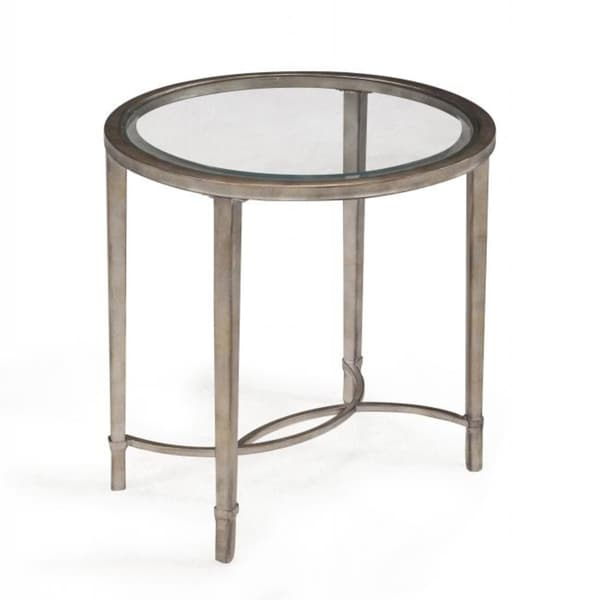 Antique Silver Glass Coffee Table: Copia Antique Silver Glass-top Oval End Table