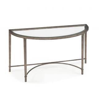 Copia Antique Silver Glass-top Demilune Sofa Table