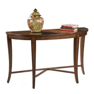 'Kingston' Nutmeg Veneer Demilune Curved Sofa Table