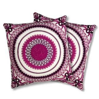 Lush Decor Geovany Fuchsia Decorative Pillows (Set of 2)