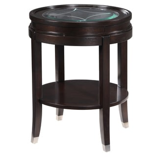 Lakefield Classic Merlot Wood Etched Glass End Table