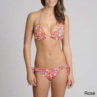 On Shore 2-piece Flower/ Fruit Ruffle Trim Bikini Swimsuit