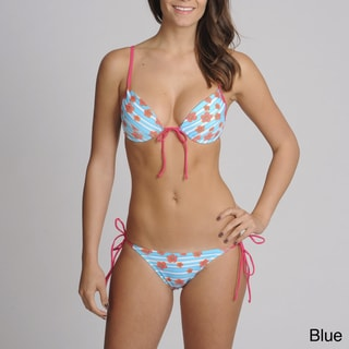 On Shore 2-piece Stripe Floral Demi Bikini Swimsuit