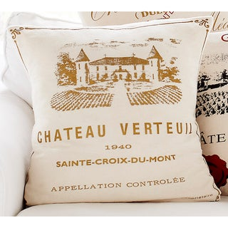 'Chateau Verteul' Wine Print Decorative Pillow