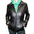 Jones New York Women's Black Leather Removable Lined Jacket