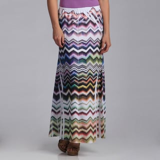 Women's Plus Multi-colored Chevron Stripe Maxi Skirt