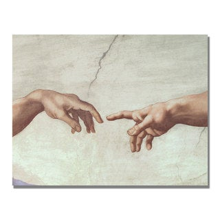 Michelangelo 'Hands of God' Canvas Art