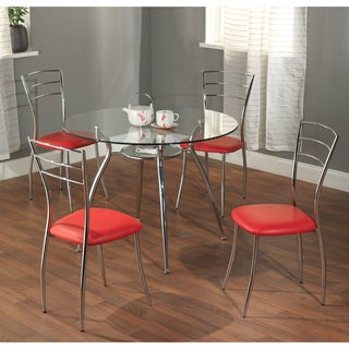 Simple Living 'Mabel' 5-Piece Metal/ Tempered Glass Dining Set