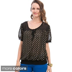 Stanzino Women's Plus Size Polka-dotted Smocked Top