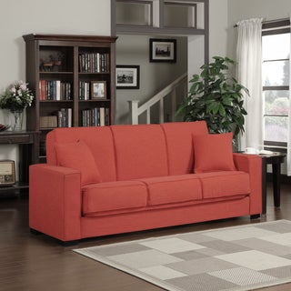 Portfolio Mali Convert-a-Couch Sunset Red Linen Futon Sofa Sleeper