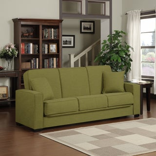 Portfolio Mali Convert-a-Couch� Apple Green Linen Futon Sofa Sleeper