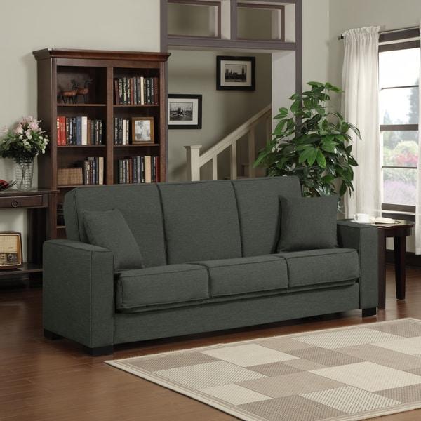 Portfolio Mali Convert-a-Couch Charcoal Gray Linen Futon Sofa Sleeper