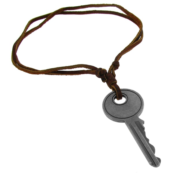 Silvertone Key and Brown Leather Cord Necklace