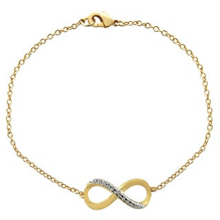 Finesque 18k Gold Overlay Diamond Accent Infinity Bracelet