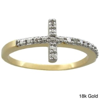 Finesque 18k Gold or Silver Overlay Diamond Accent Sideways Cross Ring