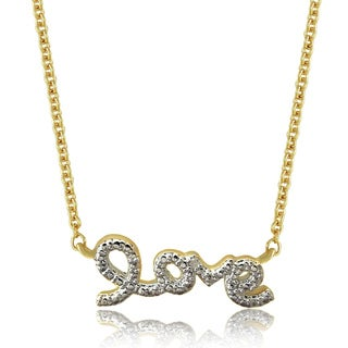 Finesque 18k Gold Overlay Diamond Accent 'Love' Necklace