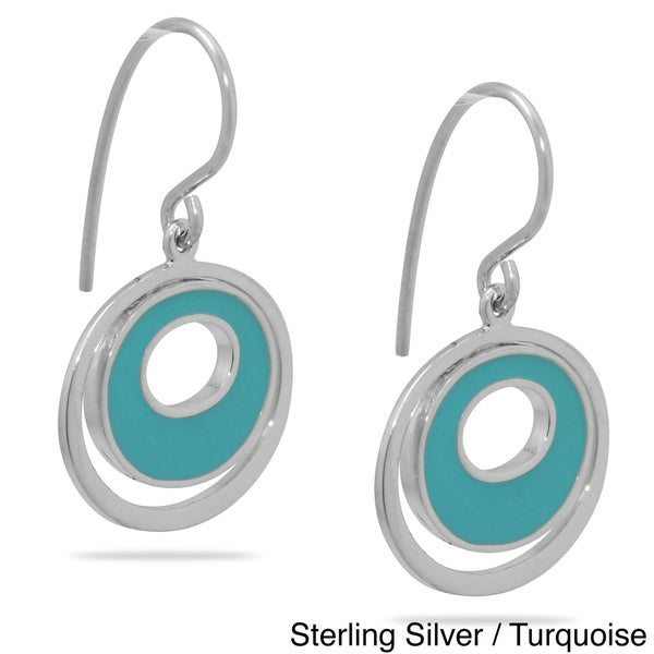 Gioelli Sterling Silver Turquoise or Tangerine Enamel Circle Earrings