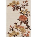 Hand-tufted Allie Floral Cream Wool Area Rug (5' x 7'6)