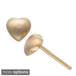 Gioelli Sterling Silver Satin Heart Stud Earrings