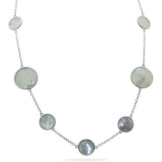 Gioelli Sterling Silver Mother of Pearl Station Necklace