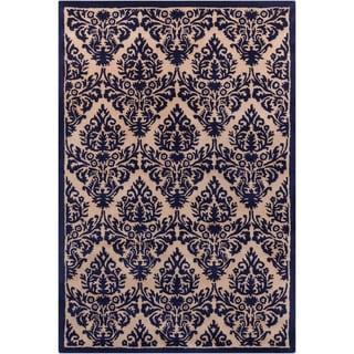 Hand-tufted Allie Floral Blue/ Tan Wool Rug (5' x 7'6)