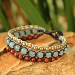 Handcrafted Brass 'Urban Colors' Jasper Quartz Bracelet (Thailand)