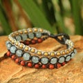 Handcrafted Brass 'Urban Colors' Jasper Quartz Bracelet (Thailand)
