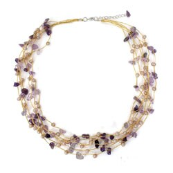 Amethyst and Pearl 'Afternoon Lilac' Necklace (4 mm) (Thailand)