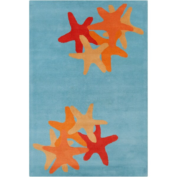 Large Allie Handmade Abstract Blue Wool Rug (5' x 7'6)