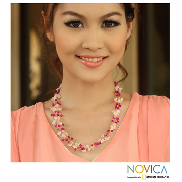 Handcrafted Rose Quartz 'Afternoon Pink' Necklace (Thailand)
