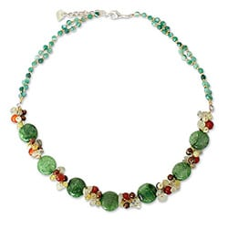 Multi-gemstone 'Green Peonies' Pearl Necklace (4 mm) (Thailand)