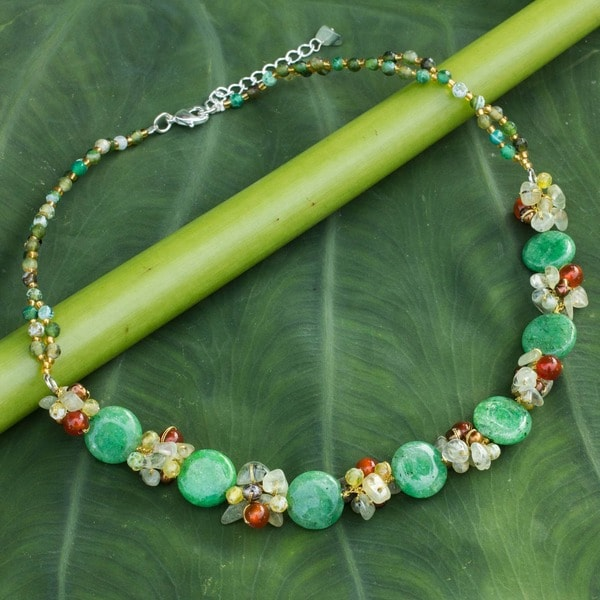 Green Peonies Multicolor Gemstones and Freshwater Pearls Adjustable Lobster Claw Clasp Womens Fashion Beaded Necklace (Thailand) 11161587