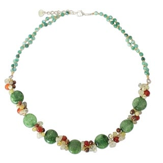 Green Peonies Multicolor Gemstones and Freshwater Pearls Adjustable Lobster Claw Clasp Womens Fashion Beaded Necklace (Thailand)