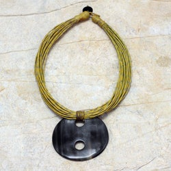 Handcrafted Leather and Horn 'Talatu Gilga' Necklace (Ghana)