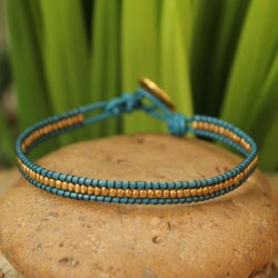 Handcrafted Gold Overlay 'Golden Azure' Leather Bracelet (Thailand)