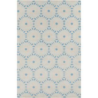 Hand-tufted Allie Geometric Blue Wool Rug (5' x 7'6)