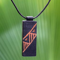 Handcrafted Men's Teakwood and Leather 'Kente Man' Necklace (Ghana)