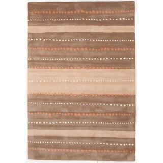 Hand-tufted Allie Linear Brown/ Tan Wool Rug (5' x 7'6)