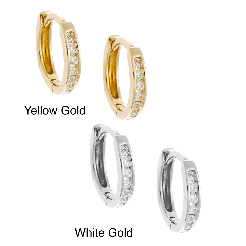Overstock.com 10k Gold Children's 1/8ct TDW Diamond Hoop Earrings (H-I, I2) at Sears.com