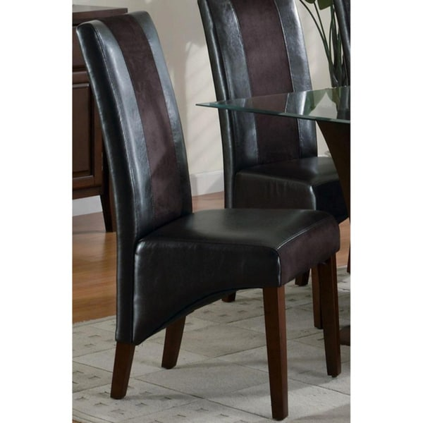 Lucerne Two-tone Leatherette/ Microfiber Dining Chairs (Set of 2)