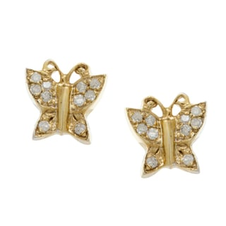 10k Gold Children's 3/5ct TDW Diamond Butterfly Stud Earrings (H-I, I2)