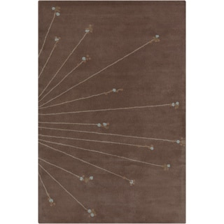 Hand-tufted Allie Abstract Brown Wool Rug (5' x 7'6)