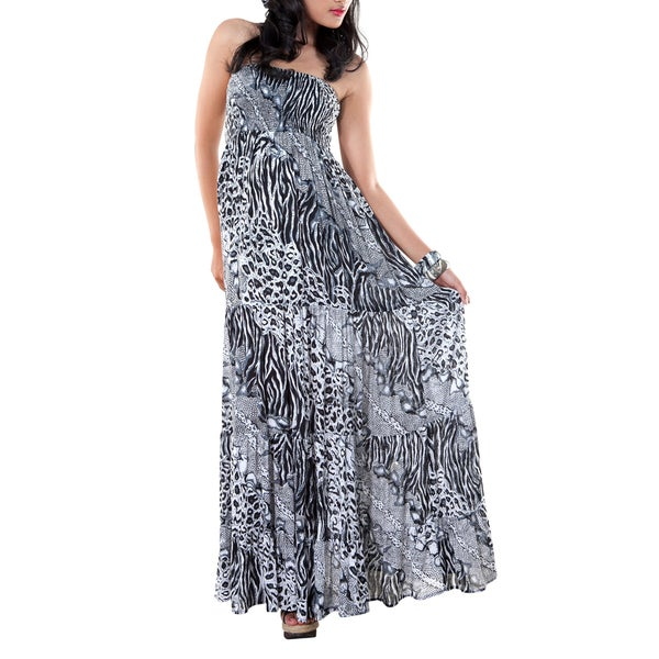 Womens Black and White Animal Print Design Long Dress (Indonesia)